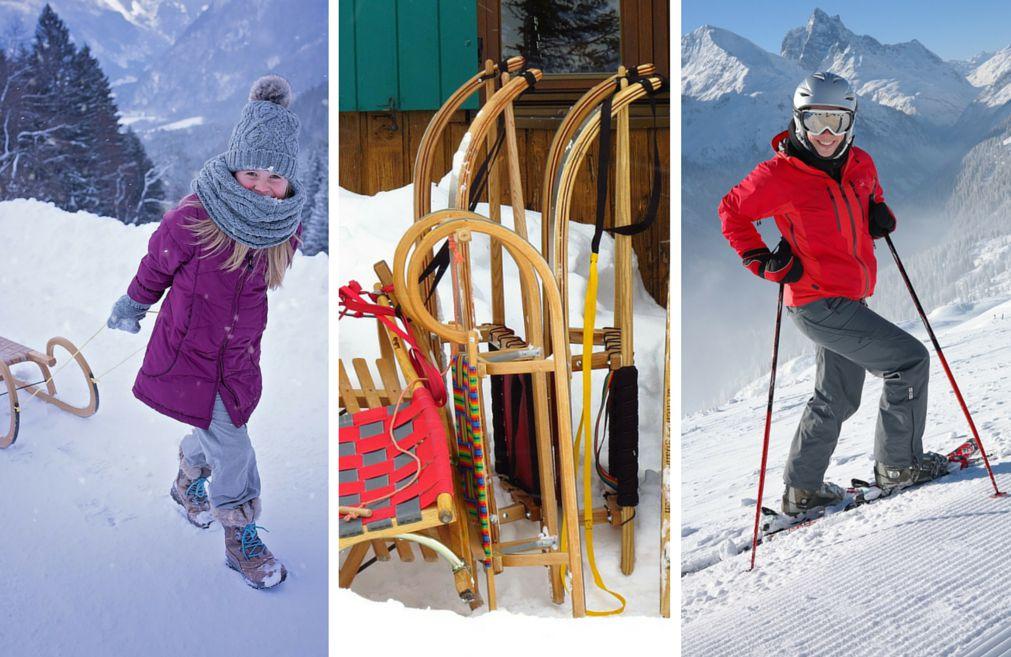 Bild von Menschen im Schnee mit Schlitten und Ski